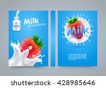 label milk strawberry cover ... | Shutterstock .eps vector #428985646