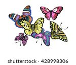 watercolor butterflies set...   Shutterstock . vector #428998306