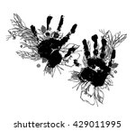 hand print illustration with... | Shutterstock .eps vector #429011995