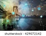 smart city and bridge  wireless ... | Shutterstock . vector #429072142