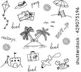 set of beach doodle vector art... | Shutterstock .eps vector #429075196