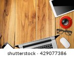 office desk table with laptop ...   Shutterstock . vector #429077386