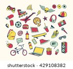 doodle icon set for teenagers.... | Shutterstock .eps vector #429108382