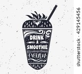 smoothie. vegan  typography... | Shutterstock . vector #429145456