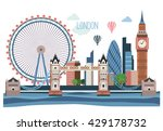 London Vector Flat  Landscape .