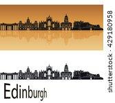 Edinburgh Skyline In Orange...