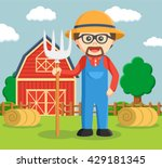 man pose in front of granary | Shutterstock .eps vector #429181345