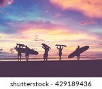 silhouette of surfer people... | Shutterstock . vector #429189436