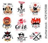 grill illustrations and logos.... | Shutterstock .eps vector #429190588