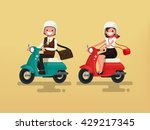 man and woman riding on their...   Shutterstock .eps vector #429217345