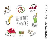 illustration of healthy snacks. ... | Shutterstock .eps vector #429217612