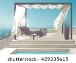pergola with white curtains...   Shutterstock .eps vector #429235615