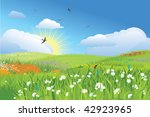 Colorfull meadow / flower and grass /  blue sky / vector - stock vector
