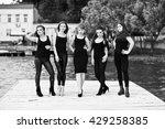 five beautiful young sexy girls ... | Shutterstock . vector #429258385
