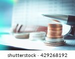 stacks of coins on banking... | Shutterstock . vector #429268192