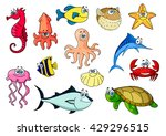 tropical fish  sea turtle and... | Shutterstock .eps vector #429296515