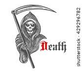 spooky death skeleton in hooded ... | Shutterstock .eps vector #429296782