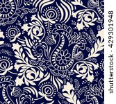 Monochrome floral pattern. Contour Paisley. Wallpaper in two colors.