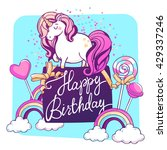 magic unicorn with confetti and ... | Shutterstock .eps vector #429337246
