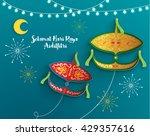 selamat hari raya aidilfitri... | Shutterstock .eps vector #429357616