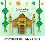 selamat hari raya aidilfitri... | Shutterstock .eps vector #429357646