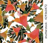 tropical vector pattern... | Shutterstock .eps vector #429363472
