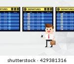 businessman or passenger hold... | Shutterstock .eps vector #429381316