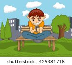 boy playing with mobile phone... | Shutterstock .eps vector #429381718