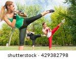 side kicks on tae bo training | Shutterstock . vector #429382798