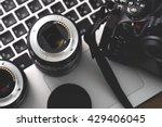 digital camera  lens and laptop.... | Shutterstock . vector #429406045