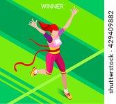 marathon finish line running... | Shutterstock .eps vector #429409882