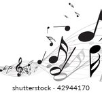 musical notes staff background... | Shutterstock . vector #42944170