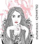linear illustration woman... | Shutterstock .eps vector #429449782