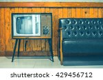 retro tv turned of against wood ... | Shutterstock . vector #429456712