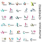 set of abstract ribbon logo... | Shutterstock .eps vector #429458902