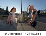 jogging couple check music... | Shutterstock . vector #429461866