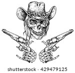 skull with pistols   hand drawn ...   Shutterstock .eps vector #429479125