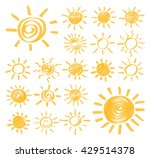 Set Of Vector Sun Symbols Hand...