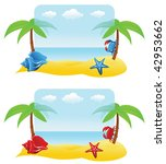 banners with palm tree  crab ... | Shutterstock .eps vector #42953662