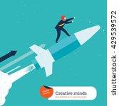 businessman on rocket. vector... | Shutterstock .eps vector #429539572