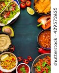 mixed mexican food background.... | Shutterstock . vector #429572635