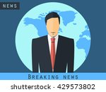 anchorman sitting at the desk.... | Shutterstock .eps vector #429573802