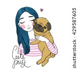 beautiful young girl and a cute ... | Shutterstock .eps vector #429587605