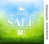 summer sale poster with grass... | Shutterstock .eps vector #429593902