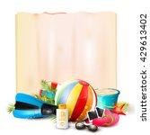 beach ball  sunglasses  palm... | Shutterstock .eps vector #429613402