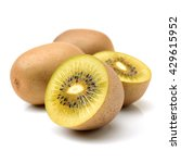 Small photo of Whole and cut golden kiwifruit/ kiwi (Actinidia chinensis) on white background