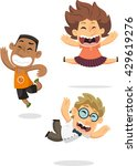 cartoon boys jumping set 2 | Shutterstock .eps vector #429619276