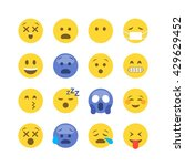 abstract funny flat style emoji ...   Shutterstock .eps vector #429629452