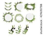 olive frame set. olive brunch.... | Shutterstock .eps vector #429650788