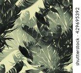 Imprints Palm. Seamless Patter...